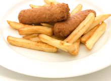 Sausage and Chips Stock Photo
