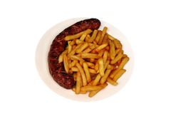 Sausage and chips Royalty Free Stock Photos