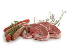 Sausage and chop of lamb Royalty Free Stock Photography