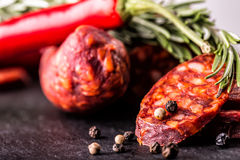 Sausage Chorizo. Spanish traditional chorizo sausage, with fresh herbs, garlic, pepper and chili peppers. Traditional cuisine Stock Image