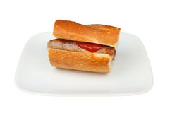 Sausage in crusty bread Royalty Free Stock Photo