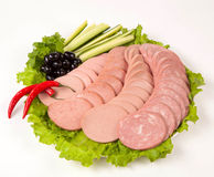 Sausage cutting Royalty Free Stock Photo