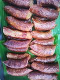 Homemade of sliced brown sausages fromThailand stock photography