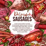 Vector sketch poster of sausage delicatessen. Sausage delicatessen poster of barbecue meat and deli fresh farm butchery products. Vector sketch brisket grill Royalty Free Stock Photography