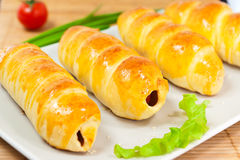 Sausage in dough Royalty Free Stock Photography