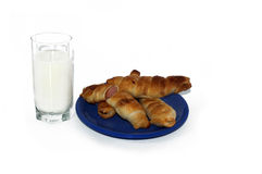 Sausage in the dough with yogurt Stock Images