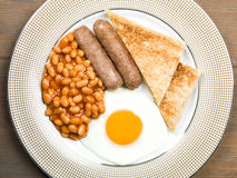 Sausage Egg and Baked Beans Cooked English Breakfast Stock Photos