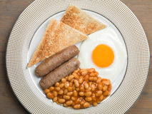 Sausage Egg and Baked Beans Cooked English Breakfast Stock Photo