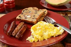 Sausage and egg breakfast Royalty Free Stock Photo