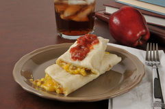 Sausage egg burrito for an after school snack Stock Image