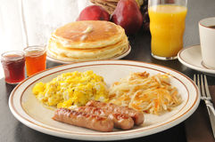 Sausage, egg and pancake breakfast Stock Photo