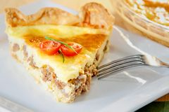 Sausage and egg quiche Stock Photo