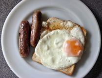 Sausage, Egg and Toast Stock Photos