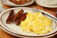 Sausage and eggs Stock Photos