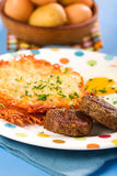 Sausage, Eggs, and Hashbrowns Stock Photos
