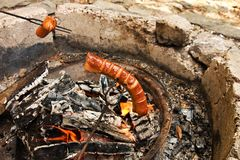Sausage in fire Stock Images