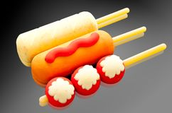 Sausage and fish ball Stock Images