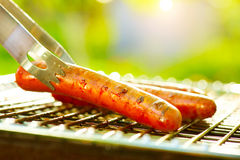 Sausage on the flaming Grill Royalty Free Stock Photos