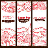 Sausage food and meat on sketched banner. Sketched meat food and sausage banner. Pork ham and chicken leg, frankfurter wurst or kielbasa, tenderloin or cutted Stock Photo