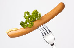 Sausage on a Fork Stock Photo