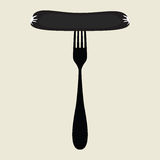 Sausage on a fork icon Royalty Free Stock Photos