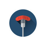Sausage On Fork Icon Oktoberfest Traditional Meal Festival Food Holiday Wurst Concept. Flat Vector Illustration Stock Image