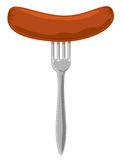 Sausage on the fork. Illustration Royalty Free Stock Photo
