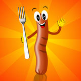 Sausage with fork Royalty Free Stock Photography
