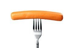 Sausage. On fork. Isolated Royalty Free Stock Image