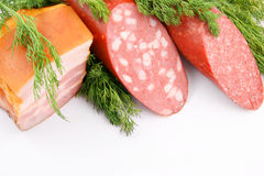Sausage and fresh greens Royalty Free Stock Images