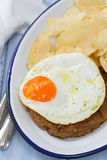 Sausage with fried egg and potato Royalty Free Stock Photos