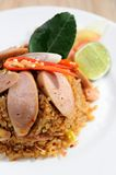 Sausage fried rice on white dish Stock Photos