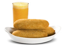 Sausage fried snacks. Brazilian snacks on white backgroung. Stock Photos