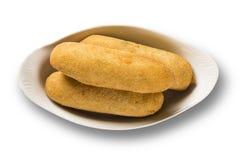 Sausage fried snacks. Brazilian snacks on white backgroung. Royalty Free Stock Photos