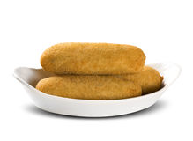 Sausage fried snacks. Brazilian snacks on white backgroung. Stock Photography