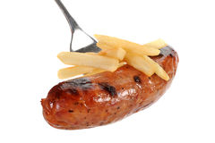 Sausage and Fries Royalty Free Stock Images