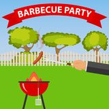 Sausage fry on the barbecue. The hand holds the fork with sausage over the grill  Royalty Free Stock Image