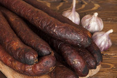 Sausage and garlic Royalty Free Stock Photography