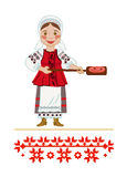 Sausage. The girl in the Ukrainian national clothes toast sausage homepage Royalty Free Stock Image