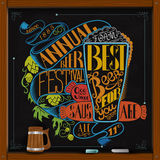 Sausage glass of beer hop and annual beer festival lettering Stock Images