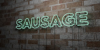 SAUSAGE - Glowing Neon Sign on stonework wall - 3D rendered royalty free stock illustration. Can be used for online banner ads and direct mailers stock illustration