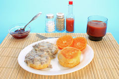 Sausage Gravy on Biscuit Royalty Free Stock Image