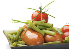 Sausage with green beans Royalty Free Stock Images