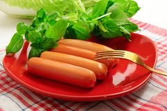Sausage with green vegetables Stock Photos