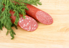 Sausage and greens Royalty Free Stock Photography