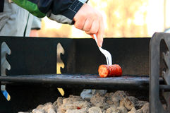 Sausage on a Grill Stock Images