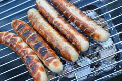 Sausage on a grill Stock Photography