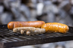 Sausage on a grill Royalty Free Stock Photography