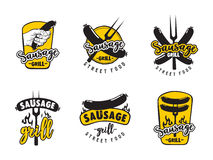 Sausage grill logo set. Collection of logos for street food cafe sausage grill Stock Photos