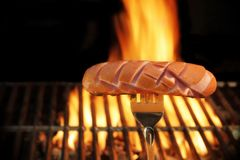 Sausage Grilled on BBQ and Flames in Background, XXXL Royalty Free Stock Photo